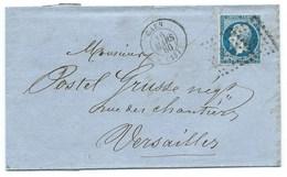 N°14 BLEU NAPOLEON SUR LETTRE / CAEN POUR VERSAILLES / 1860 - 1849-1876: Klassieke Periode