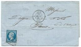 N°14 BLEU NAPOLEON SUR LETTRE / LYON POUR PARIS / 1860 PLANCHAGE 58G1 - 1849-1876: Klassieke Periode