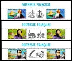 POLYNESIE 1987 - Yv. 292A à 294A (292 à 294 En Tryptiques) **   Faciale= 5,29 EUR - Missionnaires  ..Réf.POL23976 - Französisch-Polynesien