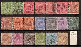 (Fb).Gran Bretagna.Giorgio V.1912/22.Lotto Di 20 Val Usati,ben Centrati Con Ottima Dentellatura (258-15) - 1902-1951 (Rois)