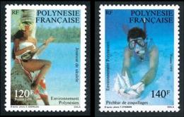 POLYNESIE 1989 - Yv. 331 Et 332 ** SUP  Faciale= 2,18 EUR - Joueuse Ukulélé Et Pêcheur De Coquillage (2 Val.)  ..Réf.POL - Nuevos