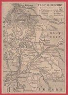Carte Du Département Du Territoire De Belfort (90), Préfecture... Chef Lieu De Canton.. évêché, Canal..Larousse 1920 - Vieux Papiers