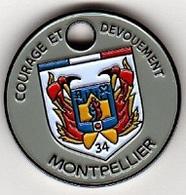 Jeton De Caddie  Argenté  Ville, SAPEURS  POMPIERS  De  MONTPELLIER  ( 34 ) - Jetons De Caddies