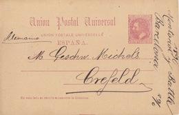 Entier Repiqué (Montoriol... Importacion...) 10c Brun Alphonse XII De Barclone Le 29 Juin 90 Pour Crefeld Allemagne - 1889-1931 Royaume: Alphonse XIII