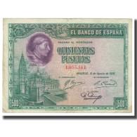 Billet, Espagne, 500 Pesetas, 1928, 1928-08-15, KM:77a, TTB - [ 1] …-1931 : Premiers Billets (Banco De España)