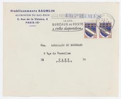 Etablissements BAUMLIN Aluminium Du Bas-Rhin(Wittisheim) Flamme Caisse Nationale D'épargne Paris XVIII - Marcophilie (Lettres)