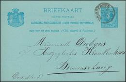 Niederlande Postkarte P 16 Wilhelm III. Von DRIEBERGEN 11.2.1891 N. Braunschweig - Pays-Bas