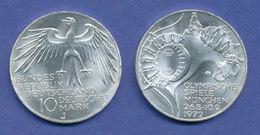 Olympische Spiele 1972, 10DM Silber-Gedenkmünze Olympiastadion  -  J - [ 7] 1949-… : RFA - Rep. Fed. Tedesca