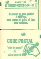 """CARNET 1970-C 1 Sabine De Gandon """"CODE POSTAL"""" Daté 9/11/77 (haut). Fermé Parfait état Bas Prix RARE. - Freimarke"""
