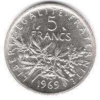 5 Francs Semeuse Argent 1969 - France