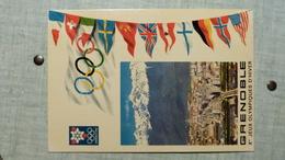 Xe JEUX OLYMPIQUES D'HIVER, GRENOBLE 1968 VILLE OLYMPIQUE VUE PANORAMIQUE ET CHAINE DE BELLEDONNE  (avec Le Logo De J.O) - Jeux Olympiques