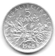 5 Francs Semeuse Argent 1968 - France
