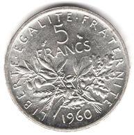 5 Francs Semeuse Argent 1960 - France