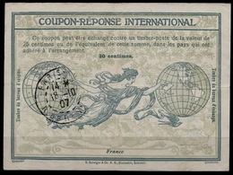 FRANCE 1907, Ro1International Reply Coupon Reponse IAS IRC Antwortschein O PARIS 18.10.1907 Early Date ! - Ganzsachen