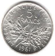 5 Francs Semeuse Argent 1961 - France