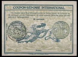 FRANCE 1912, Ro3International Reply Coupon Reponse IAS IRC Antwortschein O LE POULIGUEN LOIRE INFRE 18.05.1912 - Antwortscheine