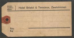 GERMANY. LUGGAGE LABEL. HOTEL BRISTOL & TERMINUS – ZWEISIMMEN. UNUSED - Transporttickets