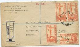Barbados R Brief Nach Georgetown Guyana 1951 - Barbades (...-1966)
