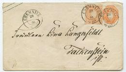 Altdeutschland Sachsen GU ZuF Brief Chemnitz Falkenstein 1866 - Saxe