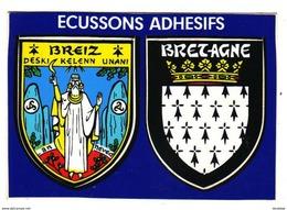 BREIZ    BRETAGNE   CARTE AVEC  ÉCUSSON ADHÉSIF........ BLASONS - Bretagne