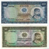 SET 2 PCS - PORTUGUESE GUINEA 50 AND 100 ESCUDOS 1971. UNC - Guinea