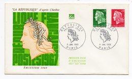 FDC France 1969 -  Marianne De Cheffer  - La République D'après Cheffer YT 1536A Et 1536B - FDC