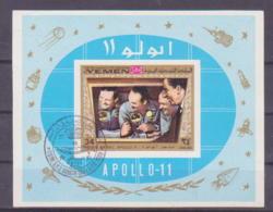 71-391 / YEMEN - 1969    APOLLO  MOON LANDING  Block Used O Imperforated ! - Ajman