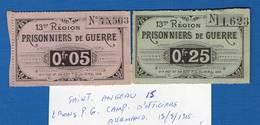 Saint  Angeau  15  Cantal   2  Bons  Pg  Camp  Dofficiers  Allemand - Bonds & Basic Needs