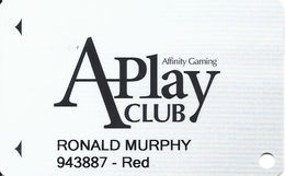 Affinity Gaming APlay Club Slot Card - Casinos In 4 States Listed On Back With Sands, Dayton & Gold Ranch - Casino Cards