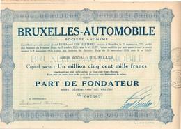 Titre Ancien - Bruxelles-Automobile -  Société Anonyme - Titre De 1926 - Automobile