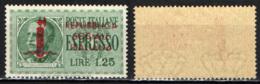ITALIA RSI - 1944 - EFFIGIE DEL RE VITTORIO EMANUELE III CON SOVRASTAMPA - MH - 4. 1944-45 Repubblica Sociale