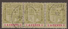 MAURITIUS. POSTMARK. VACOAS. 1910. YELLOW GREEN & CARMINE 4c STRIP X3. USED. - Mauritius (...-1967)