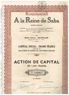 Titre Ancien - A La Reine De Saba - Société Anonyme - Titre De 1934 - Tourisme