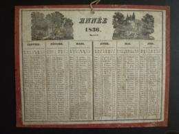 ALMANACH  1836 CALENDRIER 2  SEMESTRIELS  Allégorie Paysage  Imp. A. Pinard , Marcilly Libraire --mai 2019 Clas Cal - Calendriers