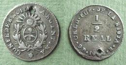 24 000 Exemplaires ARGENTINE 1/2 REAL Argent 1854 B 16.6mm 1.5g Percé Pendentif - Argentine