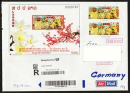 Laos 2011 Mi 2202 Block 230 Registered Airmail Laos To Germany - Laos