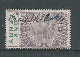 Sierra Leone 1897 QV 1d Stamp Duty Used , Manuscript Cancel - Sierra Leone (...-1960)