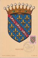 23 LA MARCHE - Blason Héraldique Carte Maximum 1er Jour 19 Novembre 1955 - GUÉRET - Guéret
