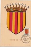 09 COMTÉ De FOIX - Blason Héraldique Carte Maximum 1er Jour 19 Novembre 1955 - Foix