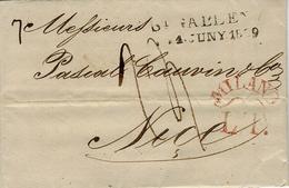 1829 - Lettre De St GALLIEN / 1.JUNY.1829 Pour Nice ( Royaume De Sardaigne ) +  Transit   MILANO / L.T Rouge - 1. ...-1850 Prefilatelia