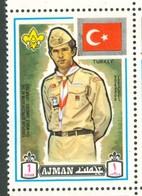 19/5 (vert) Ajman, Timbre Neuf XX Theme Scoutisme Scouts Drapeau Flag Scouting Turquie Turkey - Pfadfinder-Bewegung