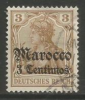 German Offices Morocco - 1906 Germania Overprint  & Surcharge 3c/3pf Used   Mi  33 - Offices: Morocco