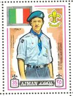 19/5 (vert) Ajman, Timbre Neuf XX Theme Scoutisme Scouts Drapeau Flag Scouting Italie Italia Italy - Scouting