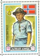 19/5 (vert) Ajman, Timbre Neuf XX Theme Scoutisme Scouts Drapeau Flag Scouting Norvege Norway Norge - Scouting