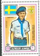 19/5 (vert) Ajman, Timbre Neuf XX Theme Scoutisme Scouts Drapeau Flag Scouting Suede Zweden Svergie - Scouting