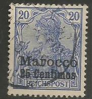 German Offices Morocco - 1906 Germania Overprint  & Surcharge 25c/20pf Used  Mi  36 - Offices: Morocco
