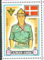 19/5 (vert) Ajman, Timbre Neuf XX Theme Scoutisme Scouts Drapeau Flag Scouting Denmark Danemark - Scouting