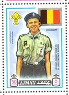 19/5 (vert) Ajman, Timbre Neuf XX Theme Scoutisme Scouts Drapeau Flag Scouting Belgique Belgium Belgie - Scoutisme