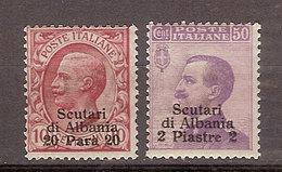 (Fb).Levante.Scutari D'Albania.1909-11.-2 Val Nuovi Gomma Integra MNH (74-17) - Bureaux Etrangers