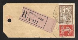 Etiquette Echantillon Avec Cachet Paris Port Royal Sur Merson 50c Et Semeuse 10c-Recommandé - 1921-1960: Période Moderne